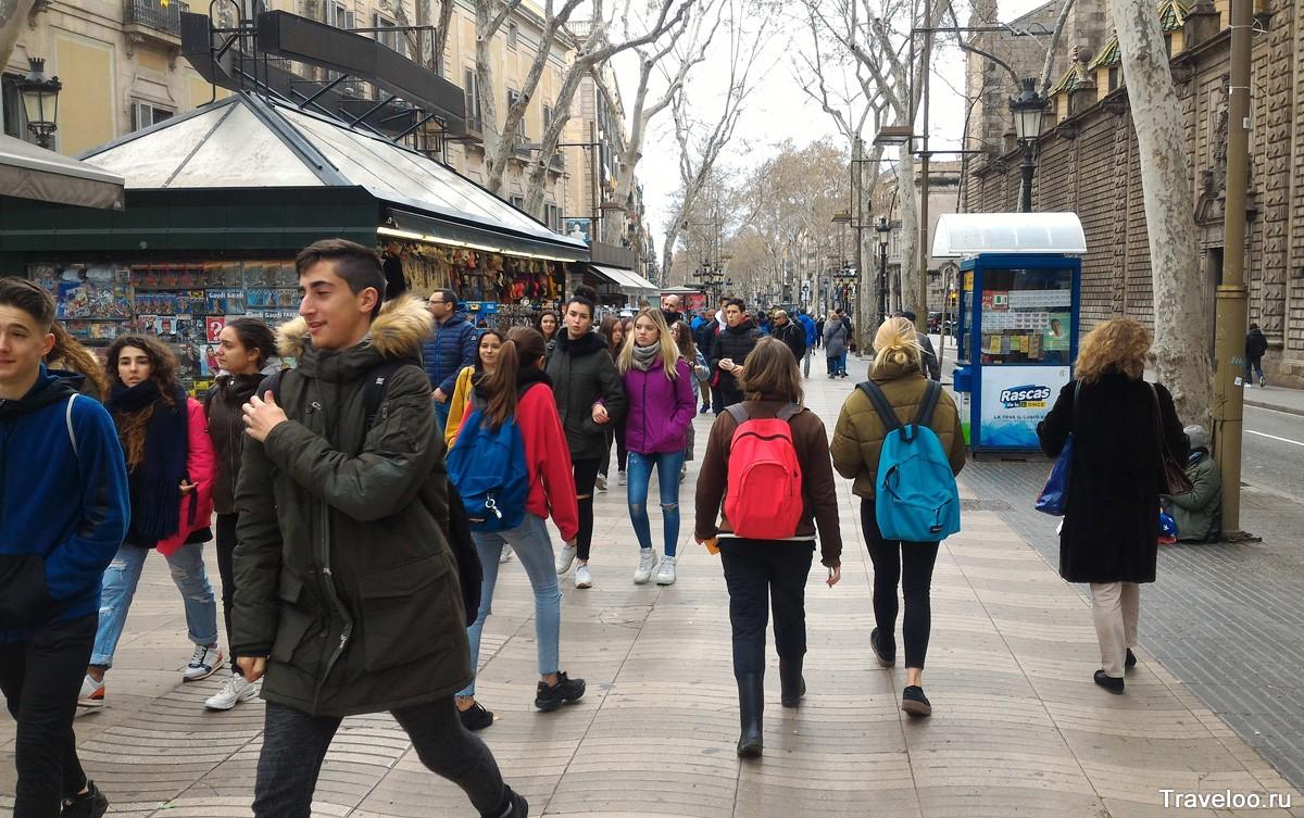 Рамбла в Барселоне в марте